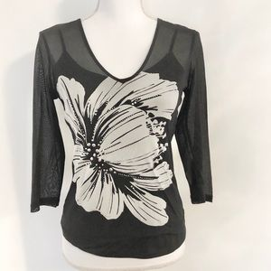 Express Black & White Sheer Top Size M